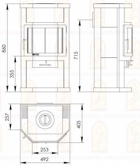 """Печь-камин """"Ока с плитой""""АОТ-6,0"""